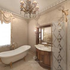 Дизайн интерьера ванной комнаты в загородном доме