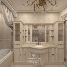 Дизайн интерьера ванной комнаты в бежевых тонах