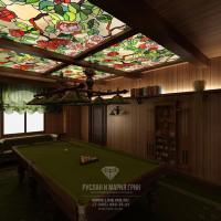 Дизайн интерьера бильярдной в доме из бруса