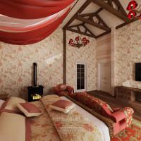 Дизайн интерьера спальни в доме из бруса