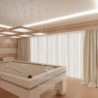 Дизайн интерьера светлой бильярдной