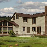Дизайн фасада дома из бруса