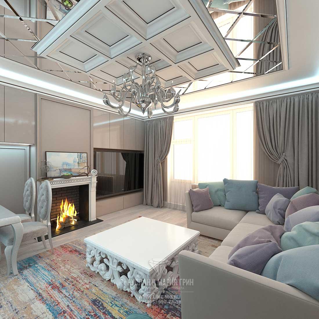 Дизайн интерьера светлой гостиной в загородном доме