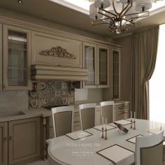 Дизайн интерьера кухни-гостиной в светлых тонах