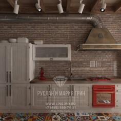 Дизайн интерьера кухни-гостиной в стиле лофт