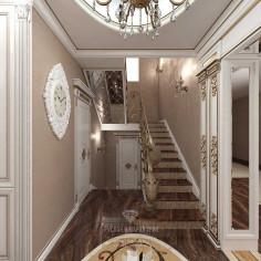 Дизайн интерьера холла и лестницы в загородном доме