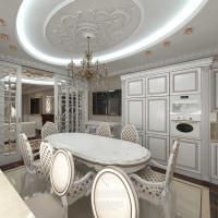 Дизайн интерьера белой кухни-столовой в загородном доме