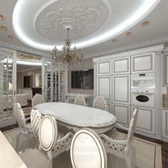 Дизайн интерьера кухни-гостиной в классическом стиле с элементами арт-деко