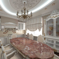 Дизайн интерьера кухни-столовой в классическом стиле