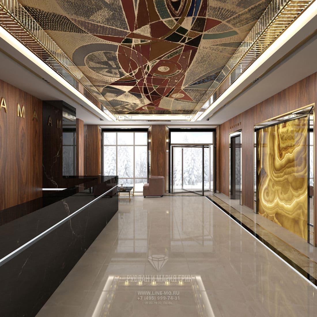Дизайн просторного холла гостиницы. Фото