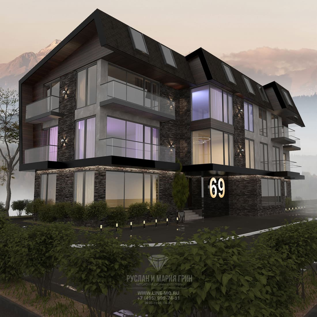 Проект фасада гостиницы