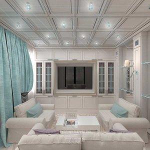 Красивая гостиная в светлых тонах