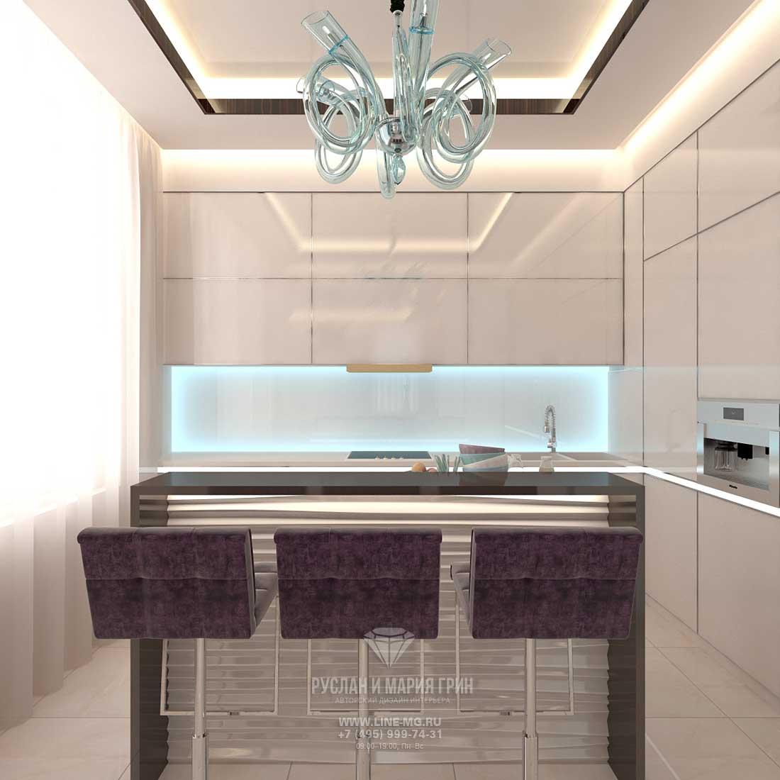 Дизайн красивой квартиры. Фото интерьера кухни в светлых тонах