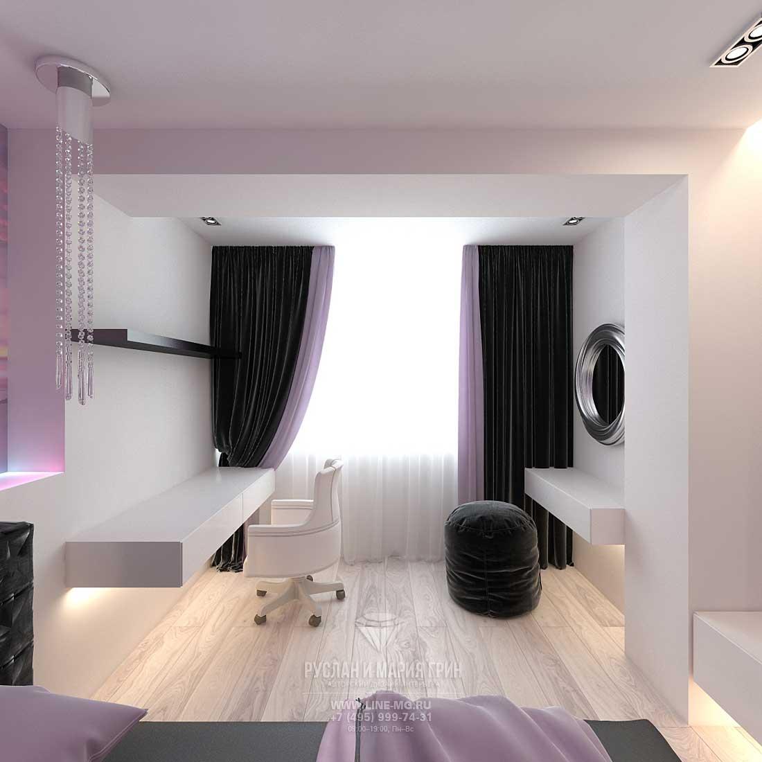Дизайн красивой квартиры. Фото интерьера спальни с кабинетом