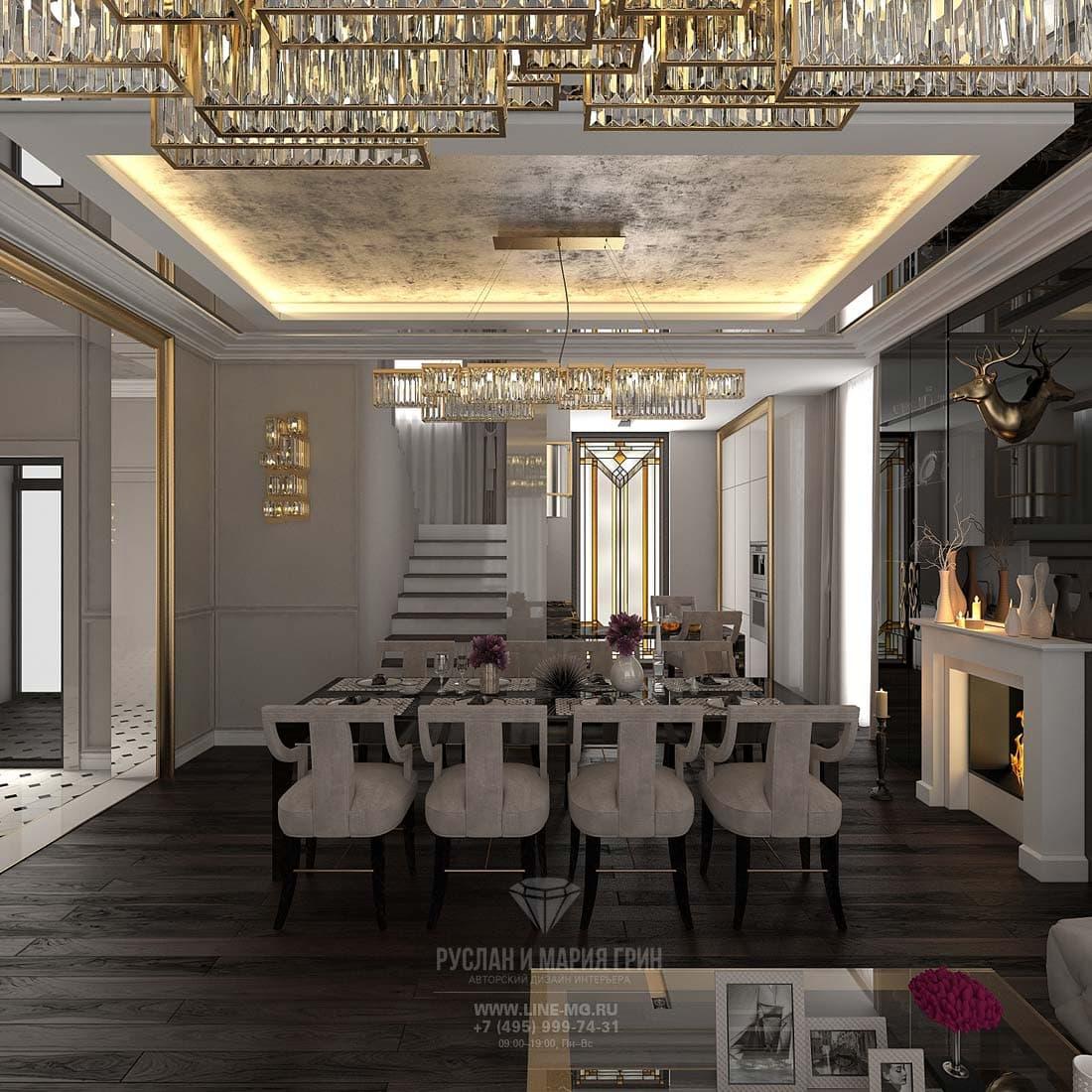 Дизайн кухни, совмещенной с гостиной и столовой. Фото интерьера
