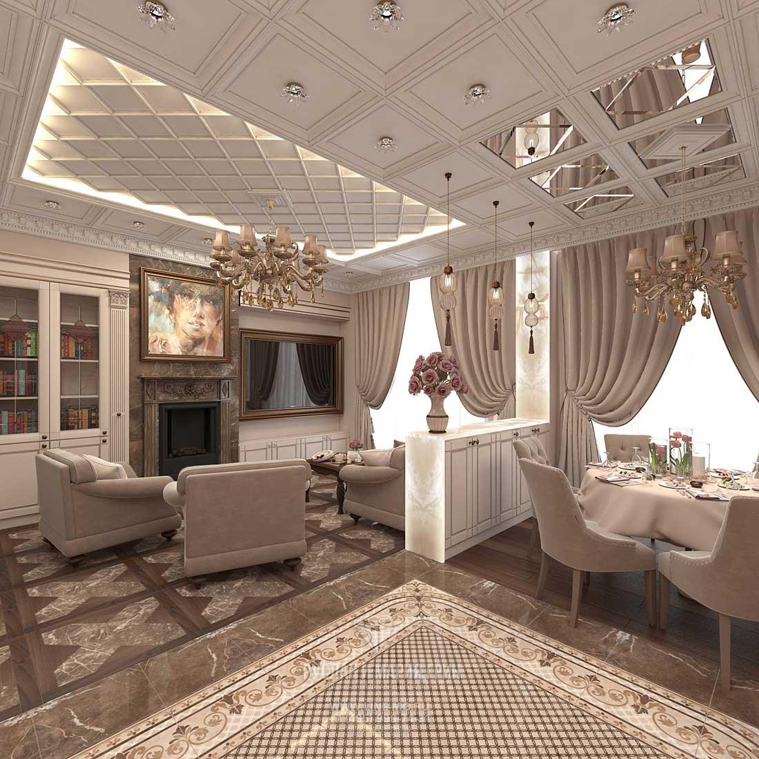 Элитный ремонт квартиры в Москве. Фото интерьера гостиной