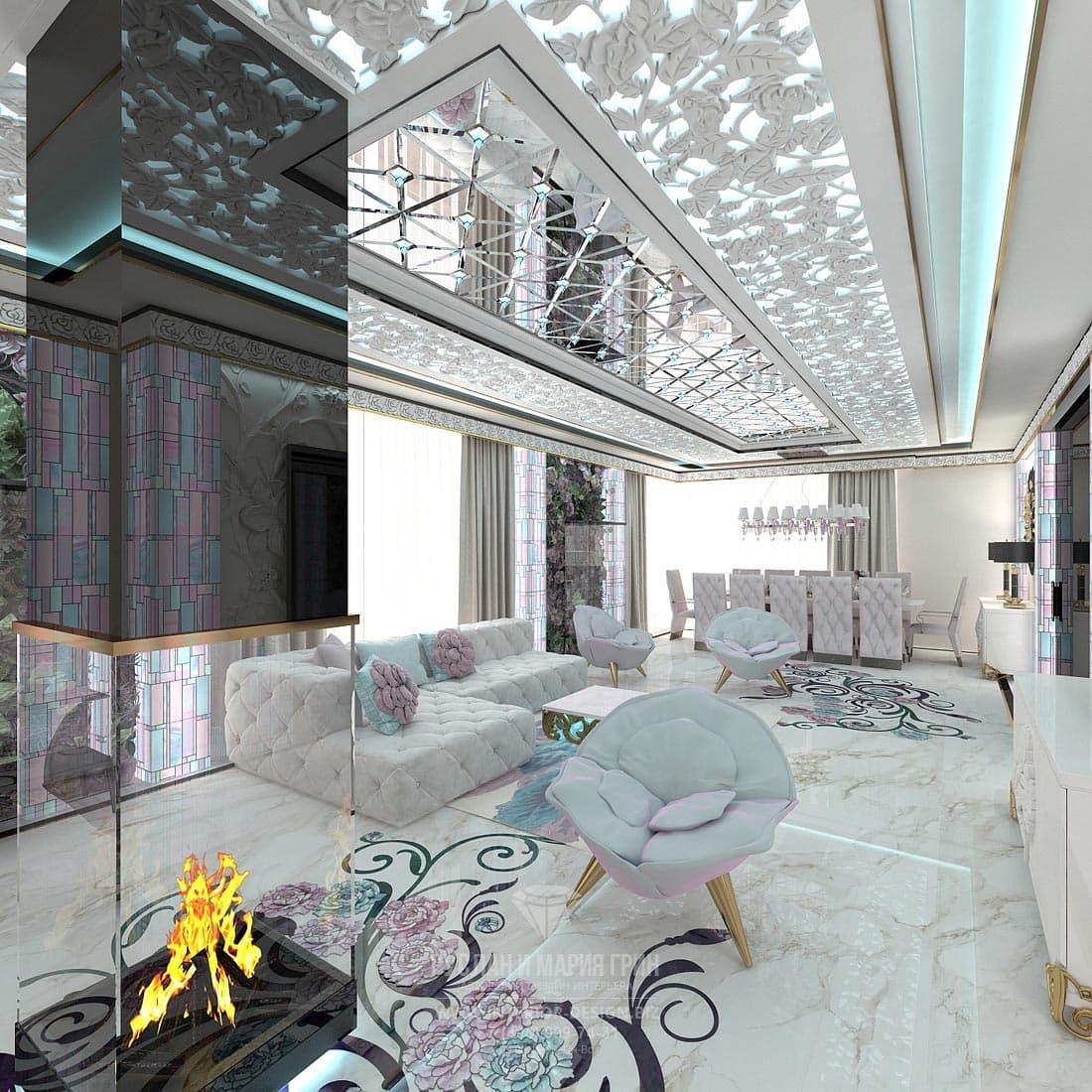 Стильная гостиная в белых тонах