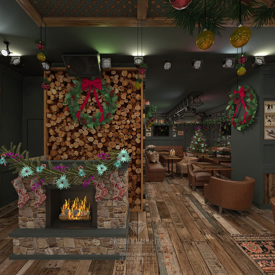 Karaoke-bar interior with a fireplace in the restaurant of Svetlakov. Photo