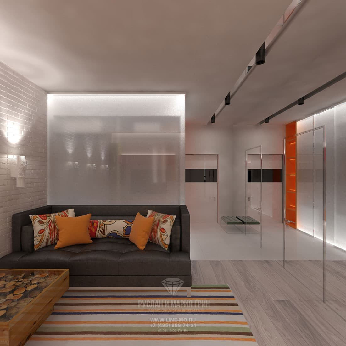 Modern-style design of the 1-room apartment