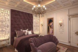Classic-style interior design of the bedroom with bathroom. 8 photos
