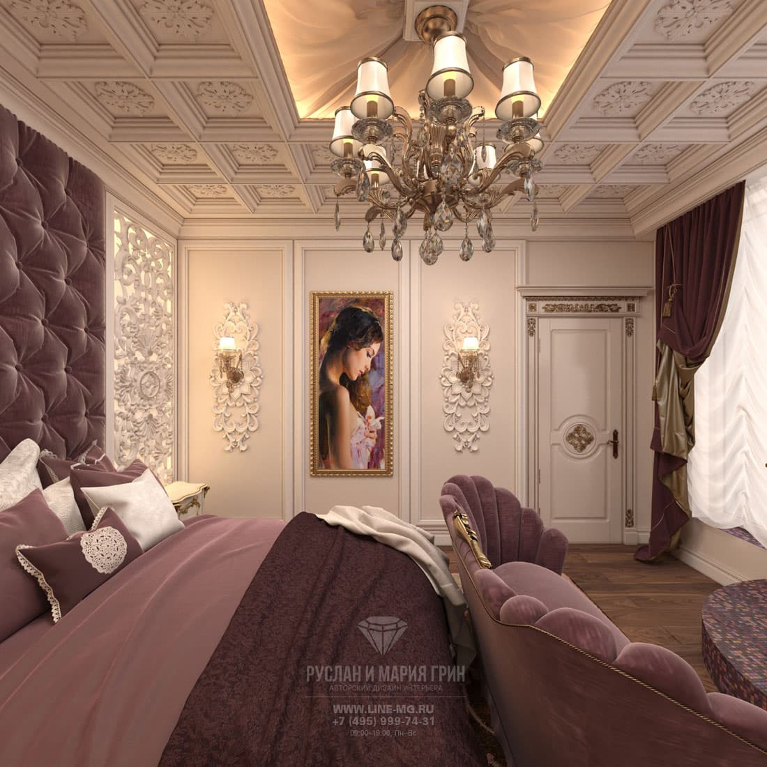 Classic-style design of the bedroom. Pictures of interior
