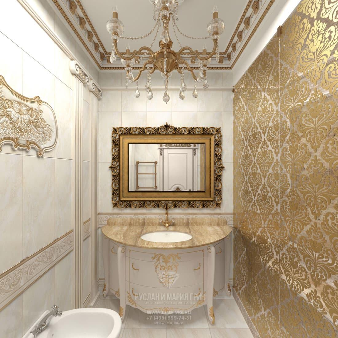 Интерьер бело-золотой ванной комнаты