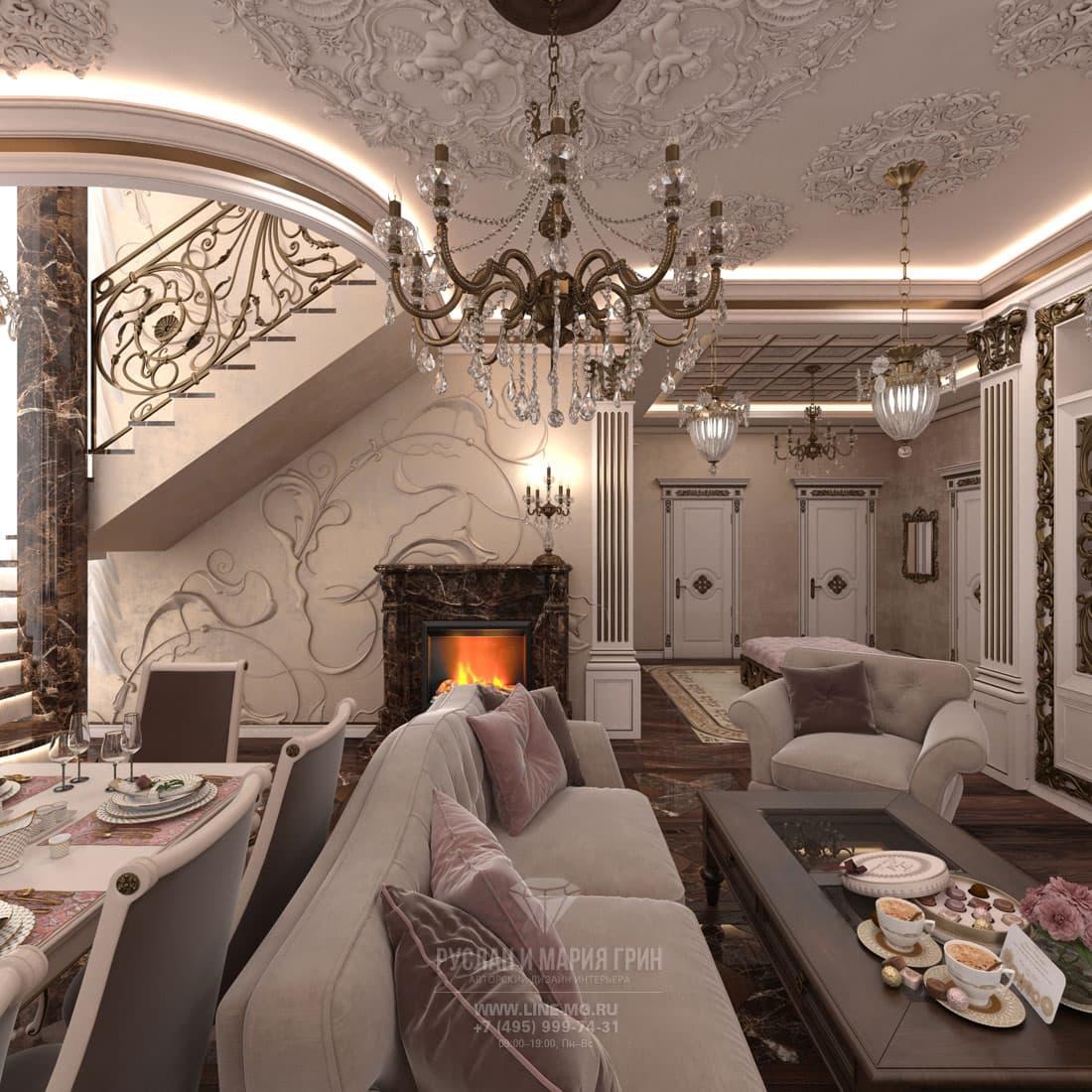 Дизайн интерьера гостиной в стиле модерн в доме