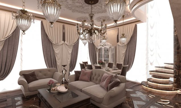 Classic-style interior design of the living room in the house on Mosfilmovskaya