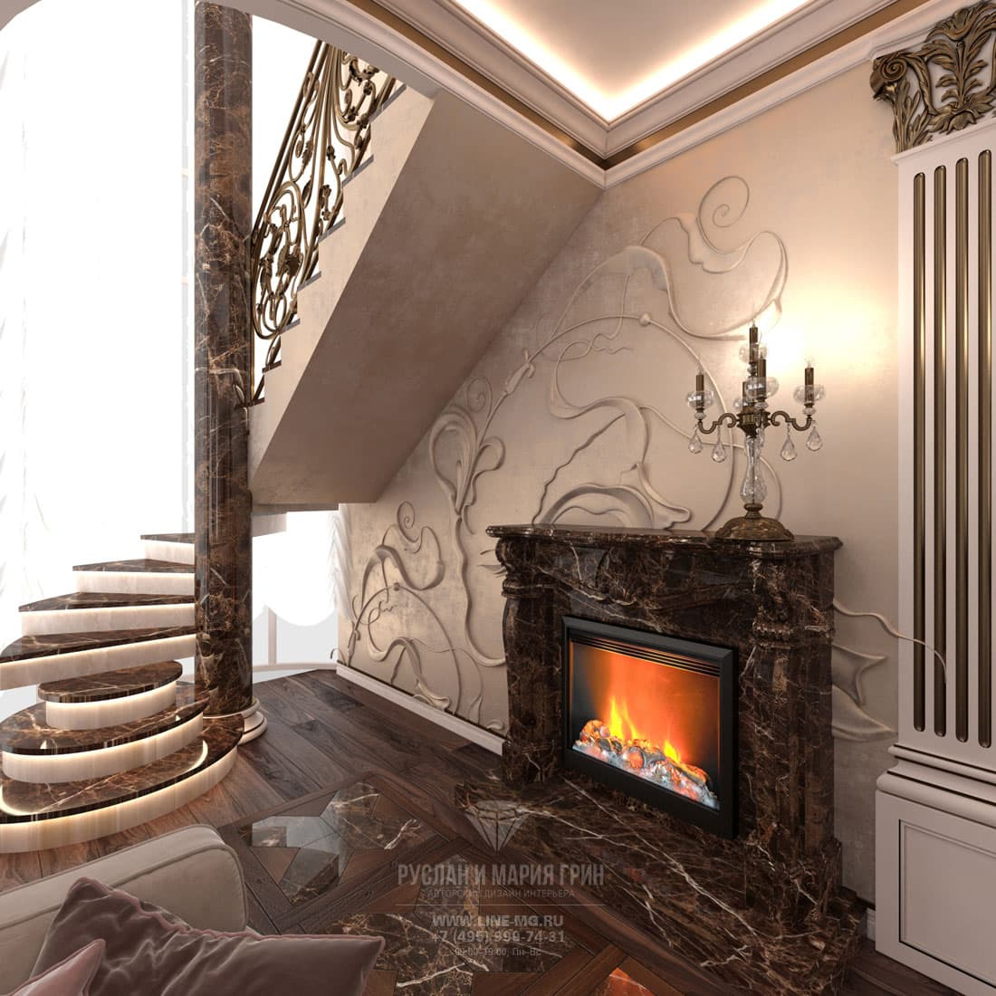 Stairs and fireplace area design of the living room