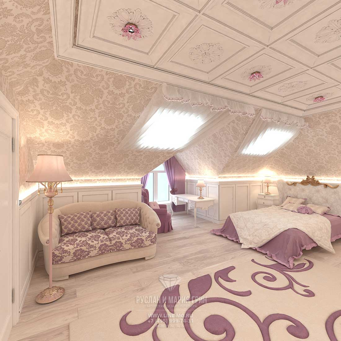 Спальня для девушки на мансарде
