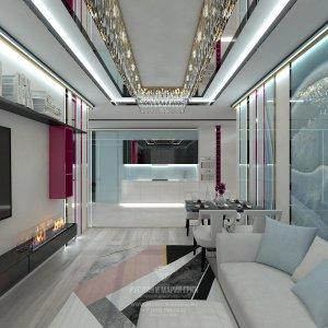 Дизайн-проект гостиной с камином