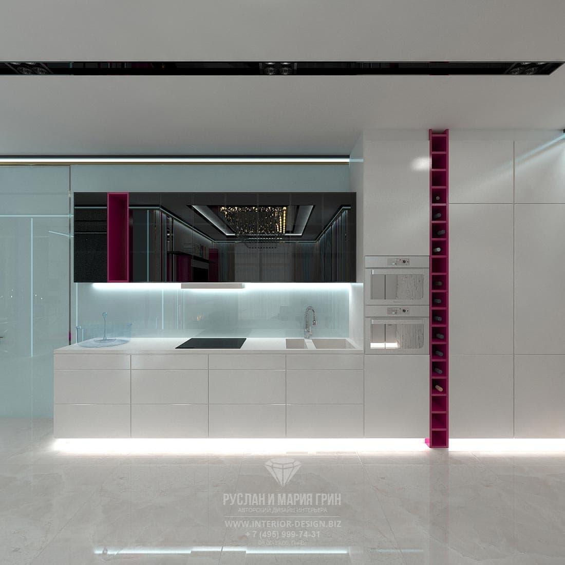 Интерьер кухни в белом цвете в стиле минимализм