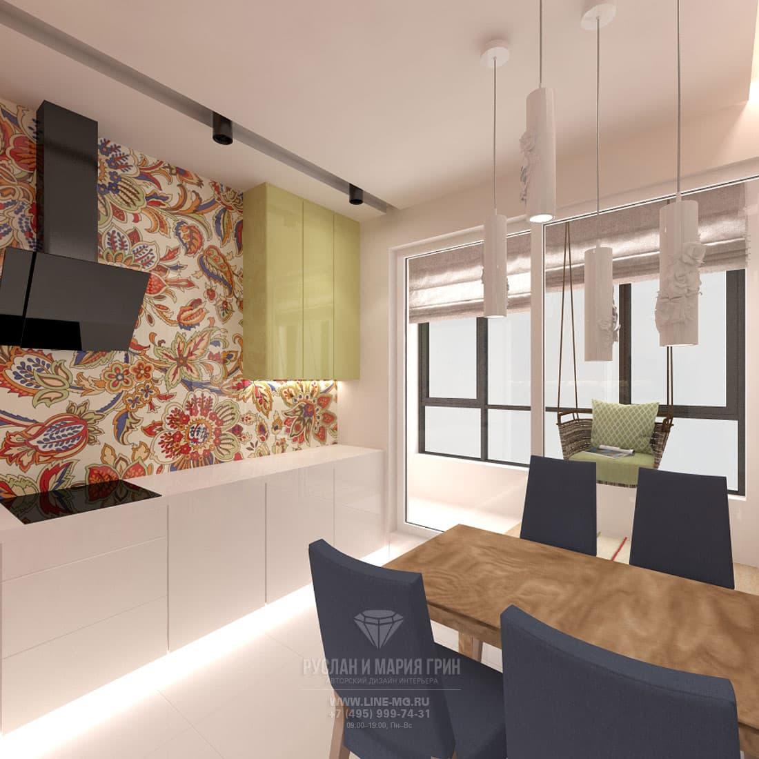 Современный стиль в интерьере кухни с лоджией