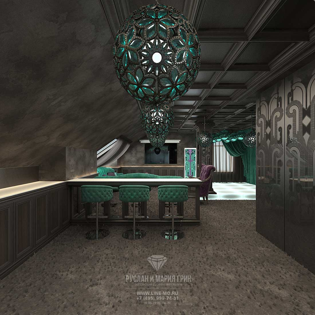 Дизайн бара на мансарде в темных тонах