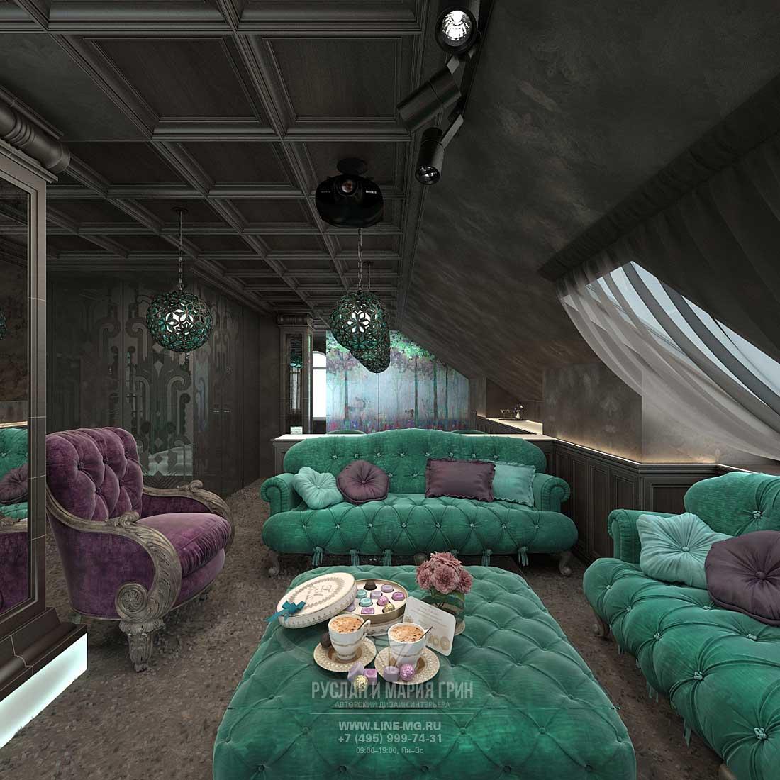 Дизайн модной гостиной на мансарде дома