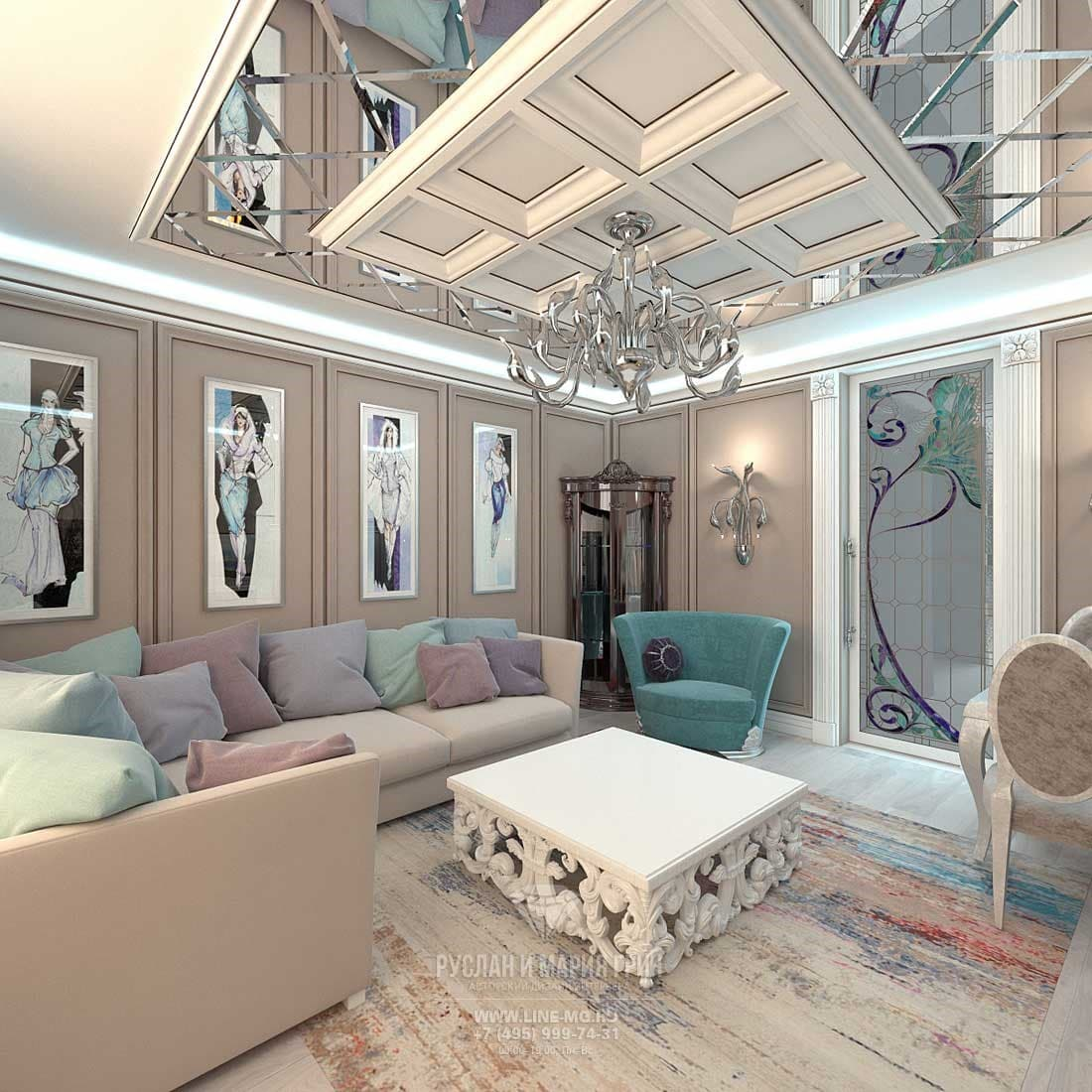Интерьер гостиной со стенами цвета кофе