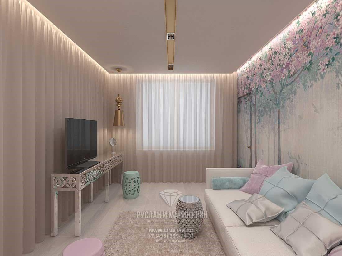 Интерьер гостиной в пастельных оттенках