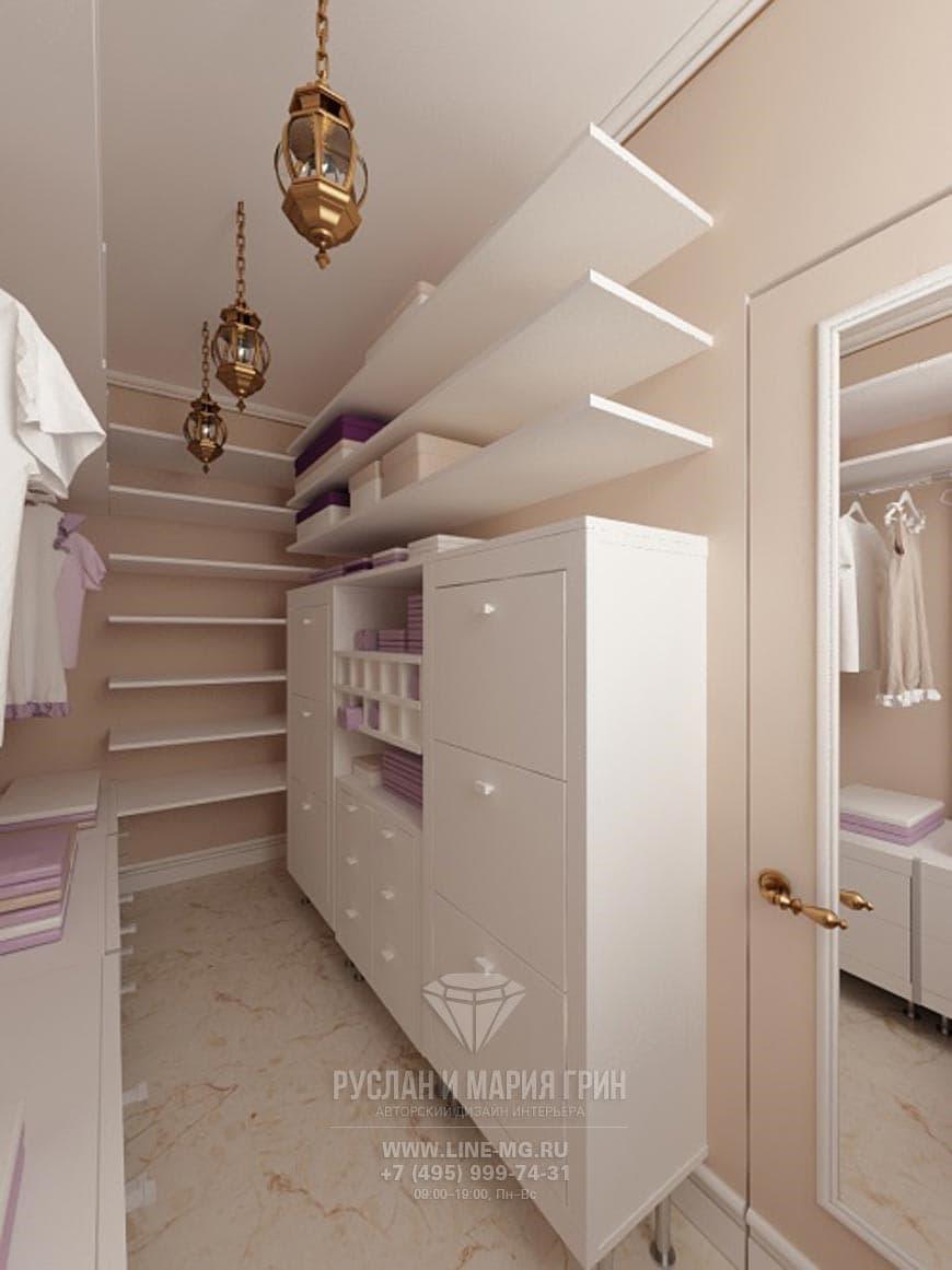 Дизайн интерьера бежевой гардеробной