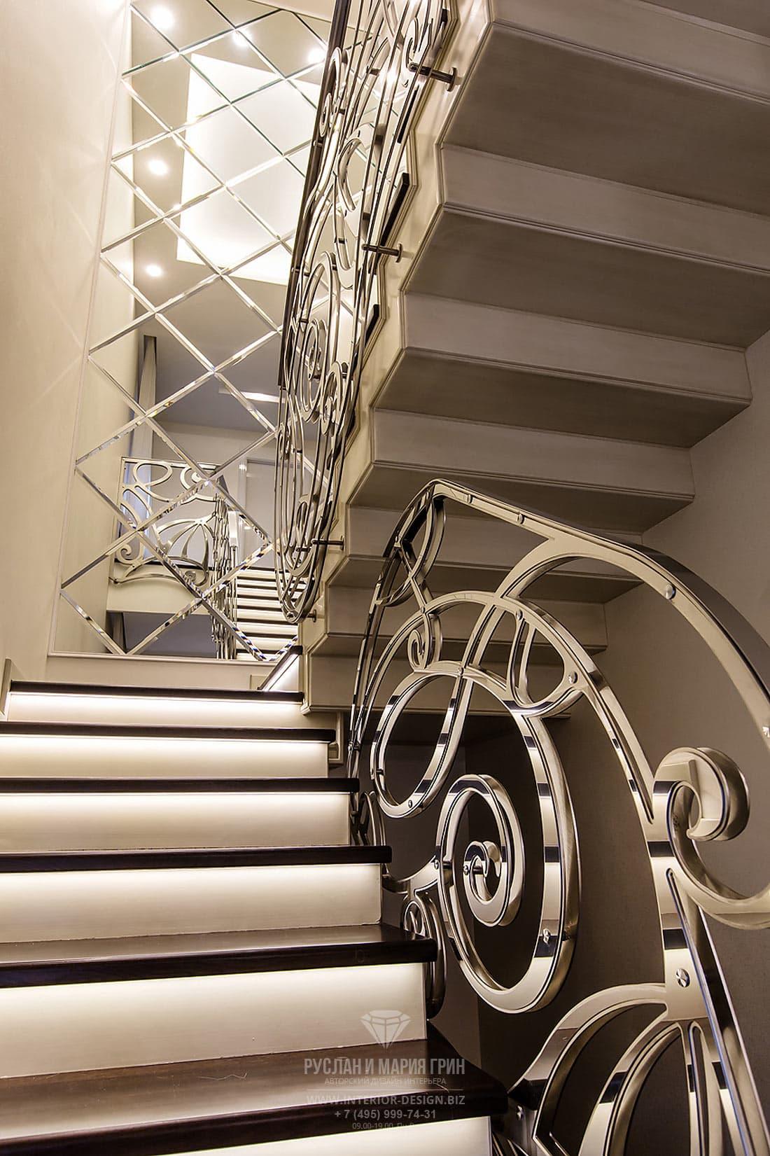 Дизайн лестницы в загородном доме. Фото 2107