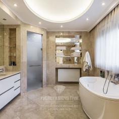 Дизайн ванной комнаты в загородном доме. Фото