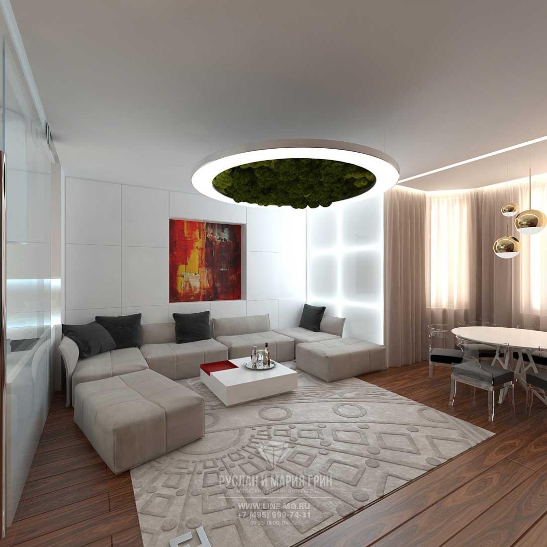 Дизайн интерьера гостиной в квартире, Москва
