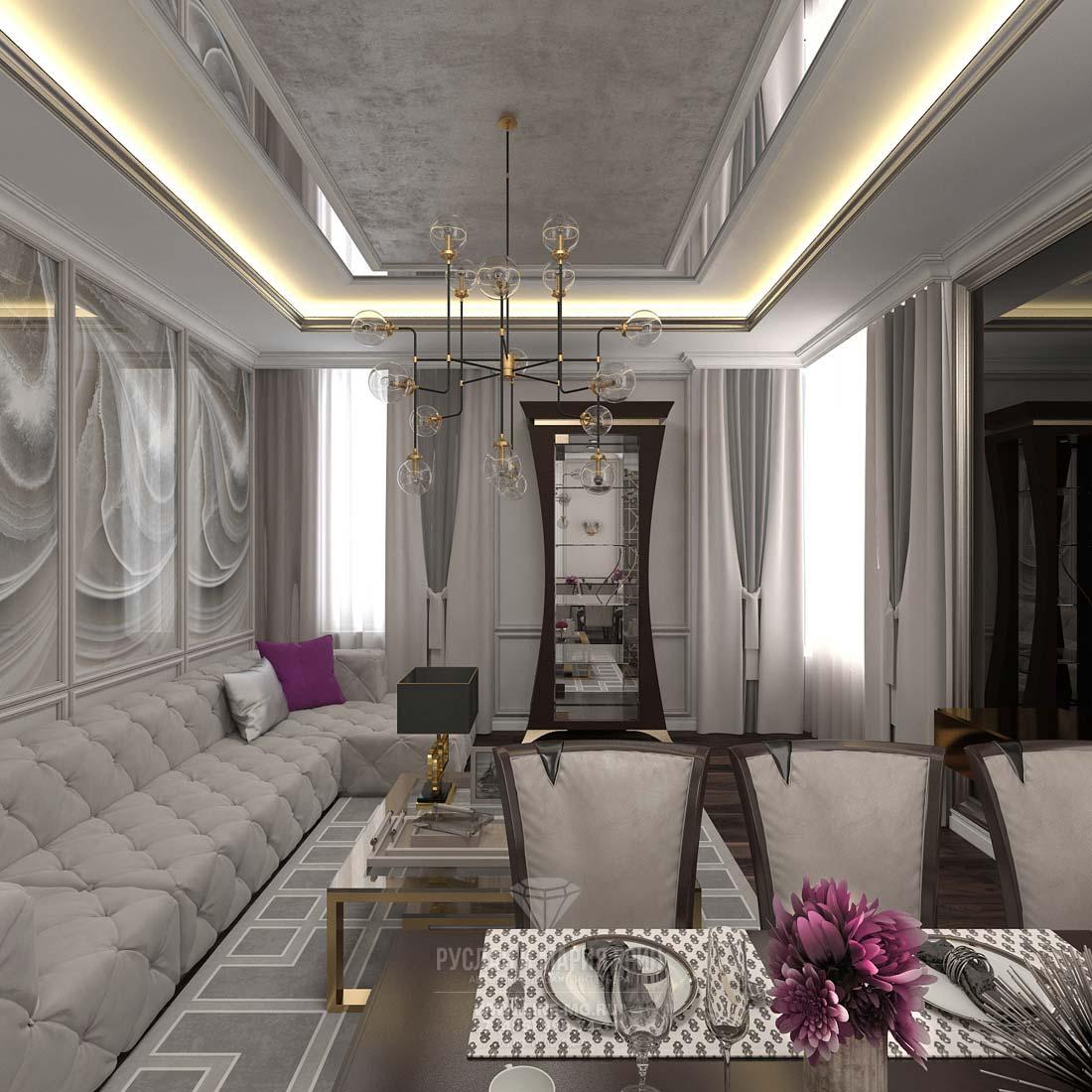 Интерьер гостиной в стилях модерн и неоклассика