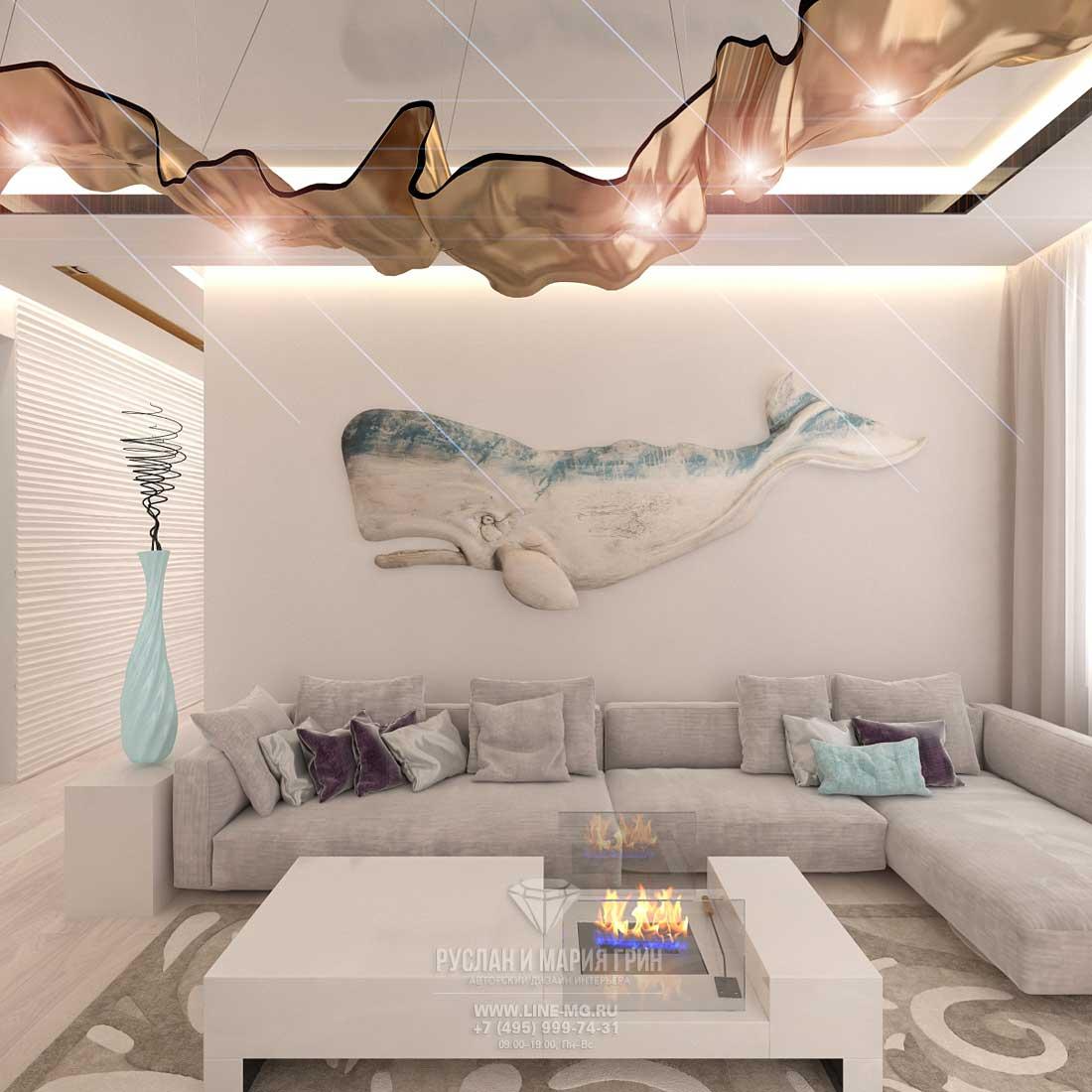 Гостиная в современном стиле в светлых тонах