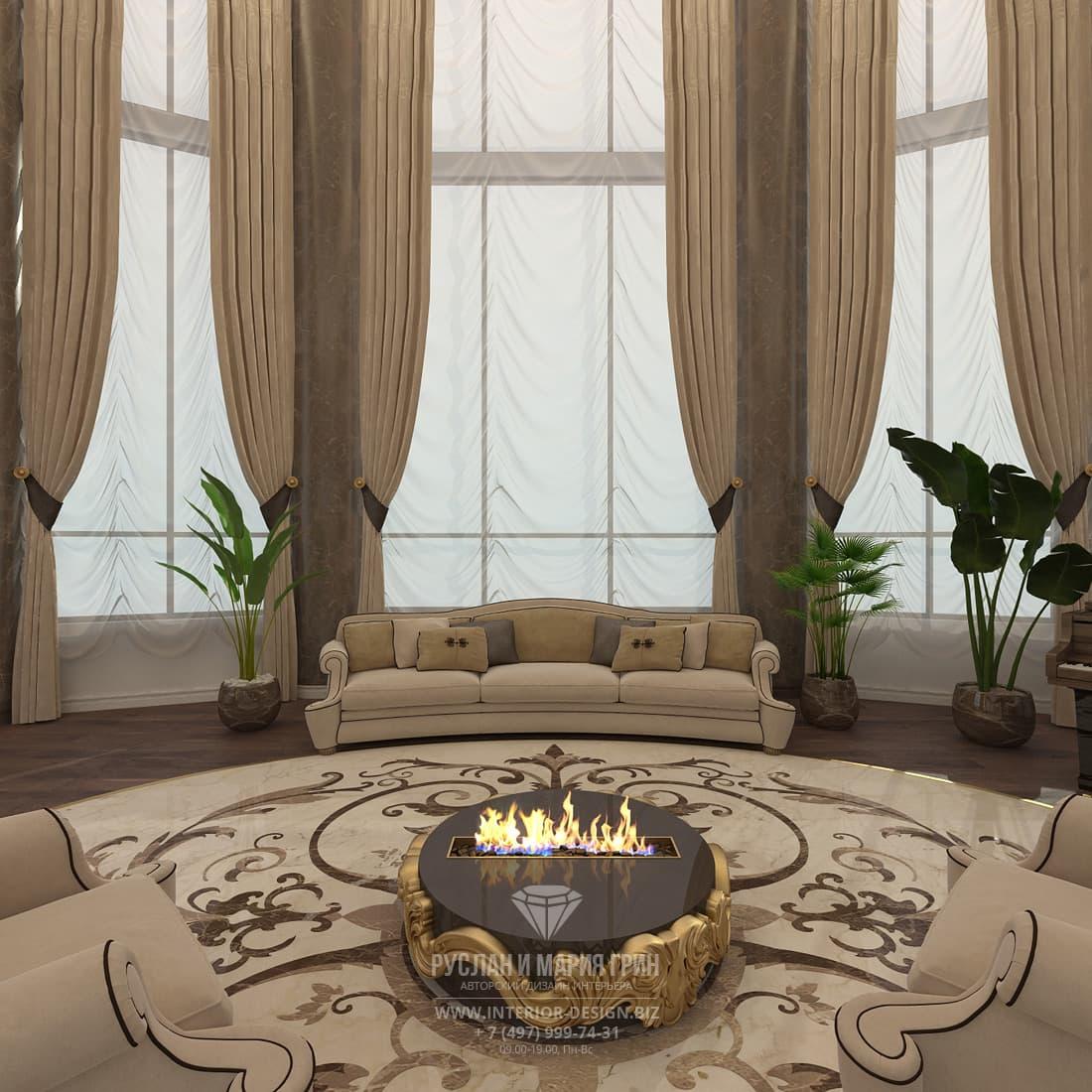 Дизайн холла с камином в загородном доме