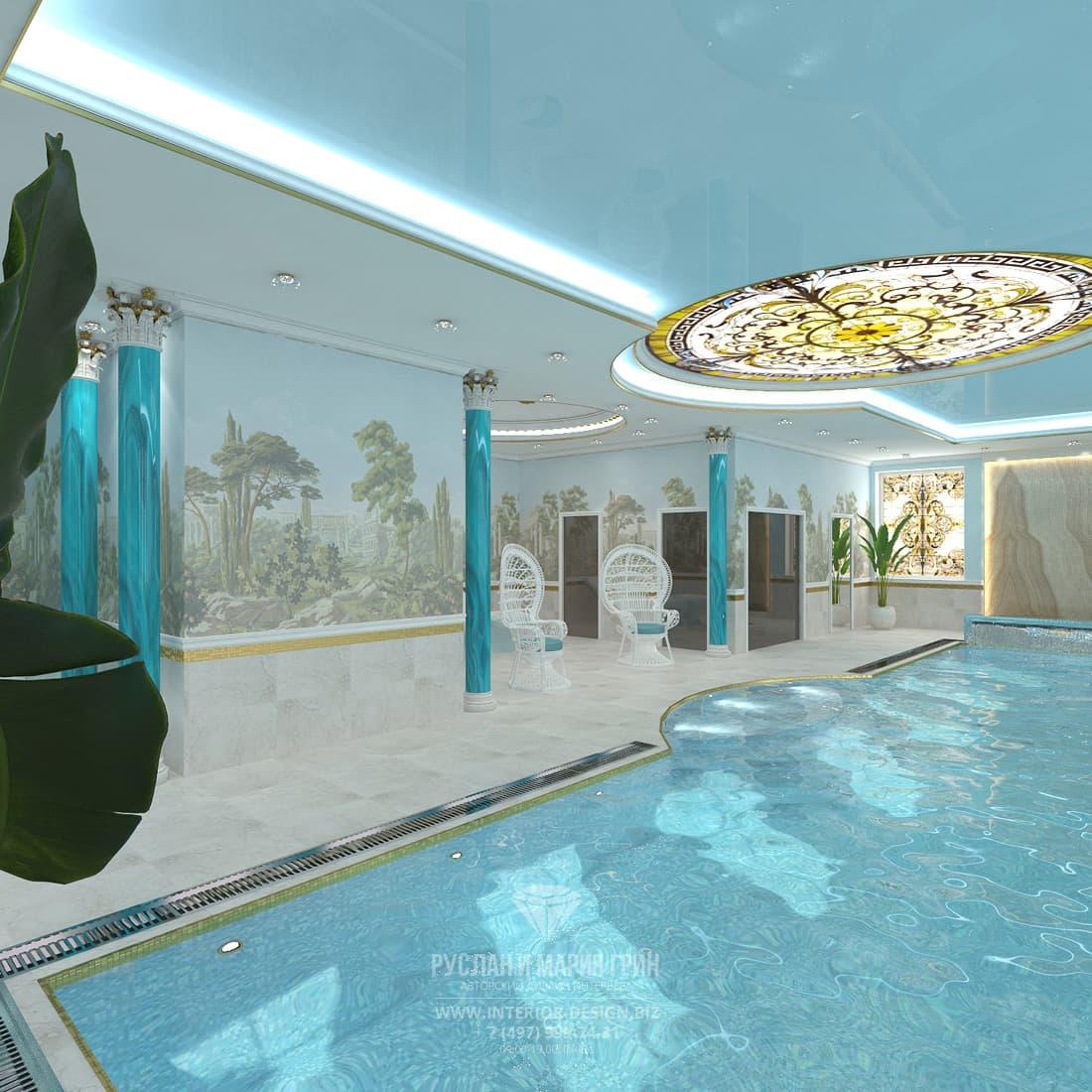 Дизайн интерьера бассейна в загородном доме