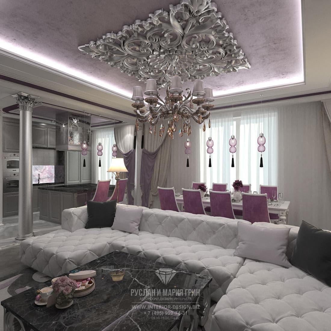 Дизайн интерьера большой гостиной в загородном доме