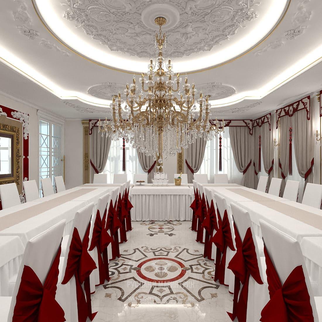Дизайн интерьера зала для приемов в загородном доме