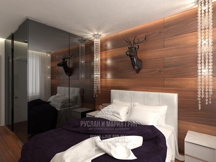Современная спальня в шоколадно-черных тонах