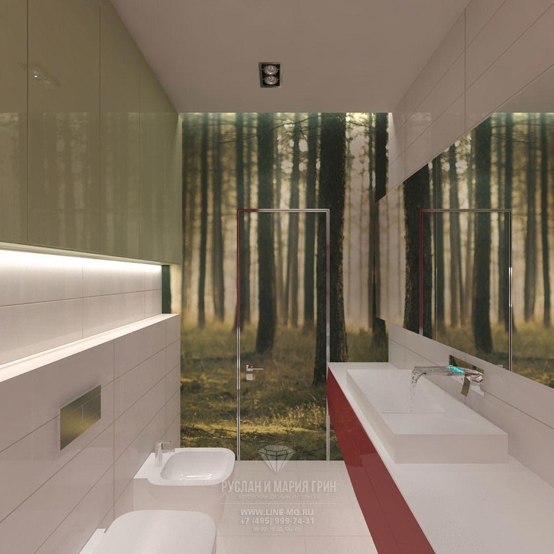 Современный интерьер светлой ванной комнаты
