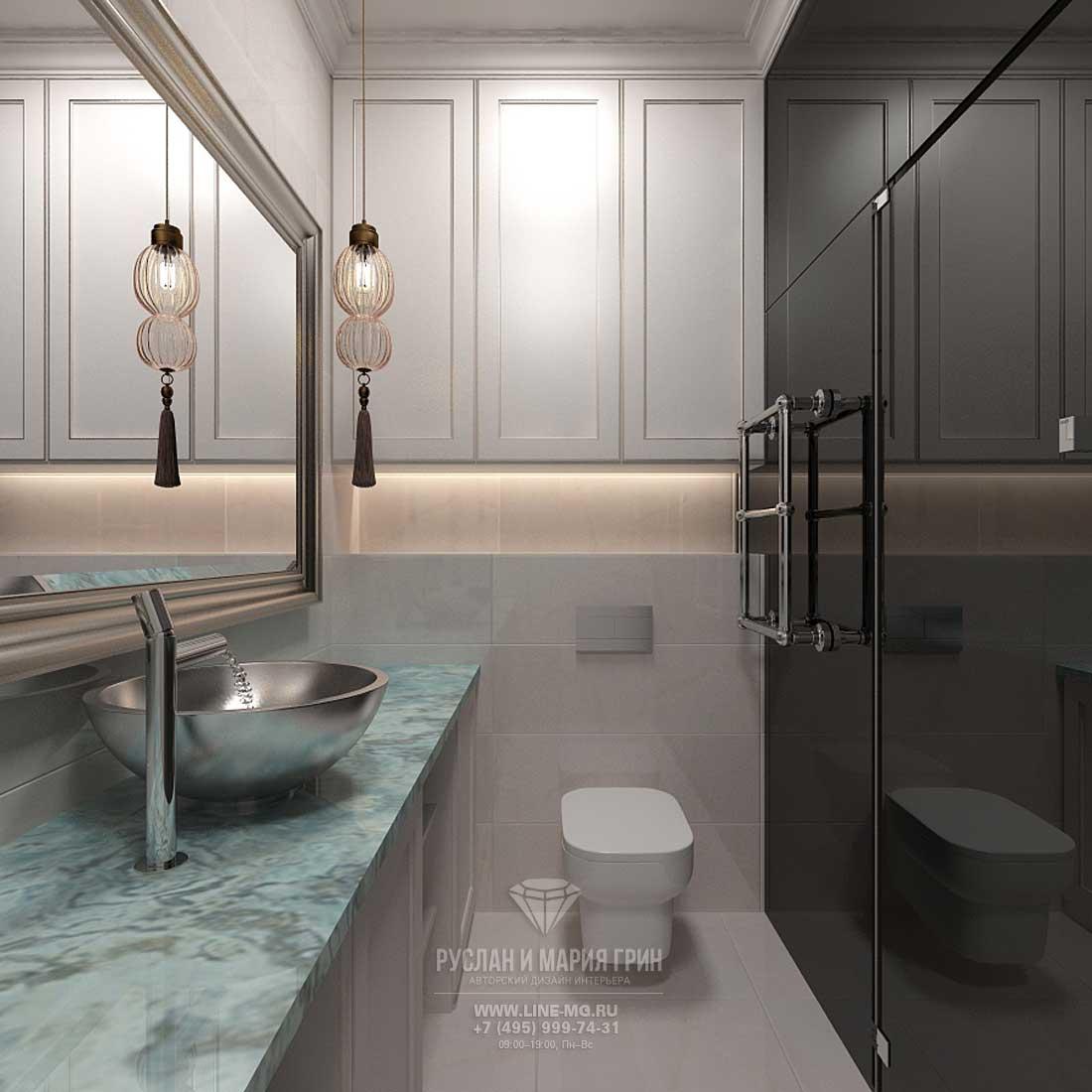 Современный интерьер ванной комнаты в черно-белых тонах